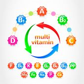 image of b12  - Set vitamins vector Illustration - JPG