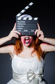 picture of satan  - Satan halloween concept with movie clapper board - JPG