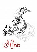 pic of treble clef  - Abstract musical waves composition design with music notes and treble clef - JPG