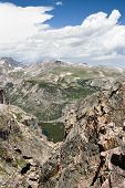 stock photo of beartooth  - View of the mountains and valleys from the Beartooth Highway - JPG