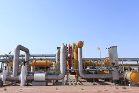 stock photo of pipeline  - Pipeline system used to transport oil and oil products pipeline system mainly composed of oil pipelines oil station and other auxiliary equipment is one of the main equipment of oil storage and transportation industry and crude oil and oil products the ma - JPG