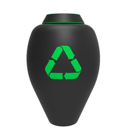 pic of urn funeral  - Cremation urn with recycling symbol 3d render isolated on white - JPG