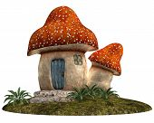 image of gnome  - Gnome House made of fungus in cartoon style - JPG