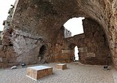 stock photo of crusader  - Inside the ruins of the ancient crusader castle - JPG