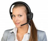 picture of half  - Businesswoman in headset with her head half - JPG