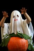 pic of jack-o-laterns-jack-o-latern  - Little ghost and pumpkin - JPG