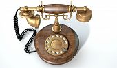 picture of embellish  - A vintage wood and brass telephone with a handset and dial embellishments on an isolated white studio background - JPG