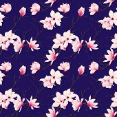 picture of japanese magnolia  - Spring magnolia navy seamless vector pattern - JPG