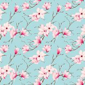 picture of japanese magnolia  - Spring magnolia mint seamless vector pattern - JPG