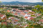 image of red roof tile  - Surrounded by forest in the north of the city of Trencin in Slovakia - JPG