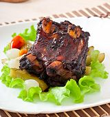 picture of marinade  - Baked beef ribs in honey soy marinade with pickled vegetables - JPG