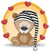 stock photo of teddy  - Cute teddy Bear with hearts on yellow - JPG