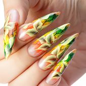 image of finger-painting  - Autumn pattern of female nails. Painting.Close up. ** Note: Soft Focus at 100%, best at smaller sizes - JPG
