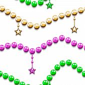 stock photo of carnival brazil  - Mardi gras seamless pattern with color beads and stars - JPG