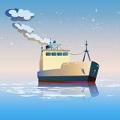 stock photo of shipbuilding  - Stylized vector illustration on the theme of shipbuilding fishing transport freight etc - JPG
