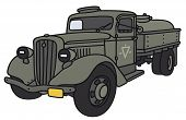 pic of tank truck  - Hand drawing of an old military tank truck  - JPG