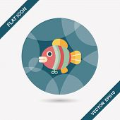 image of fish icon  - Fish Toy Flat Icon With Long Shadow - JPG