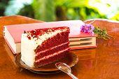 pic of red velvet cake  - a Red velvet cake on wood table  - JPG