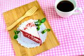 picture of red velvet cake  - Close up of Red velvet cake and coffee on table - JPG