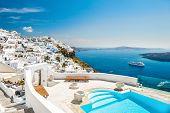 picture of greek-architecture  - White architecture on Santorini island Greece - JPG