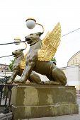 foto of metal sculpture  - Griffon sculpture of Bank bridge in St - JPG