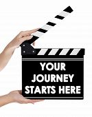 stock photo of backround  - Hands holding a clapper board - JPG