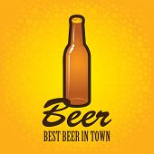 pic of bubble sheet  - Banner with a bottle of beer on a background with bubbles - JPG