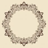 stock photo of mehndi  - Vector ornamental round lace with damask and arabesque elements - JPG