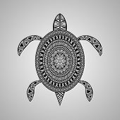 stock photo of turtle shell  - Vector Turtle tattoo style black on gradient background - JPG