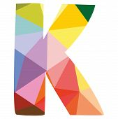 stock photo of letter k  - K low poly wrapping surface vector colorful letter isolated on white background illustration - JPG