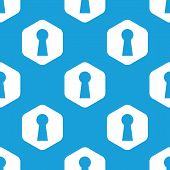 foto of keyholes  - Blue image of keyhole in white hexagon - JPG