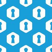 foto of keyhole  - Blue image of keyhole in white hexagon - JPG