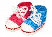 picture of booty  - Handmade blue and pink baby booties isolated on white background - JPG