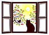 foto of cherry trees  - vector cat in the window and cherry trees outside the window - JPG