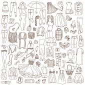 pic of jeans skirt  - Vector set of different women clothes and accessories from underwear to outerwear - JPG