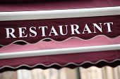 foto of canopy  - Restaurant street cafe entrance canopy in Paris France - JPG