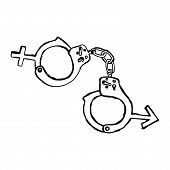 stock photo of lockups  - illustration vector hand drawn doodles of handcuff with sex sign marriage concept - JPG