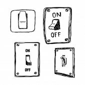 pic of single  - illustration vector hand drawn doodles single wall light switch - JPG