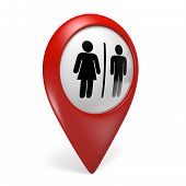 stock photo of gender  - Red restroom search finder icon with male and female gender symbols - JPG