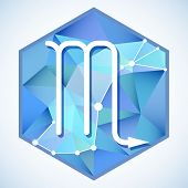 foto of scorpio  - Zodiac sign and constellation Scorpio into hexagonal frames on low poly background - JPG