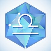 pic of libra  - Zodiac sign and constellation Libra into hexagonal frames on low poly background - JPG