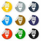 picture of fluorescence  - Vector energy saving fluorescent light bulb icon - JPG