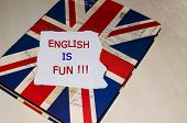 pic of grammar  - English is fun written on paper  - JPG