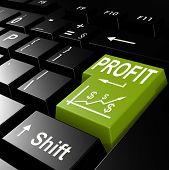 image of profit  - Profit word on the green enter keyboard image with hi - JPG