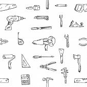 image of freehand drawing  - Freehand drawing building construction pattern - JPG