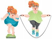 stock photo of skipping rope  - Fat woman with horror looks at the scales - JPG