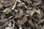 picture of scrap-iron  - Twisted rusted iron straps in a pile - JPG