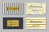 picture of white gold  - Set of gold business card template or gift cards - JPG