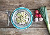 foto of leek  - Spring salad with leek - JPG