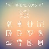 picture of fingerprint  - Technology thin line icon set for web and mobile - JPG